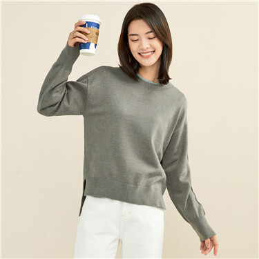 Solid color dropped-shoulder sweater