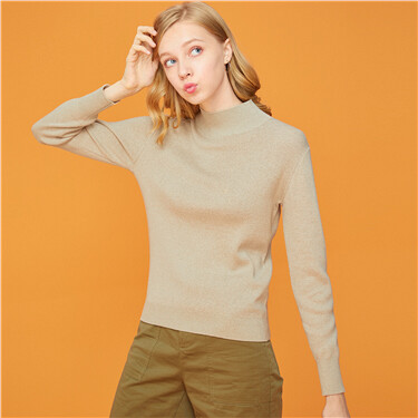 Mockneck long-sleeve knitted sweater