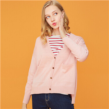 Longer hem at back v-neck cardigan