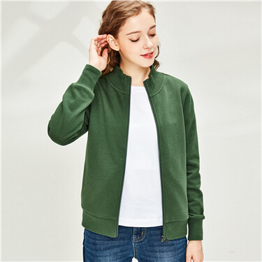 Plain stand collar jacket