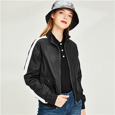 Contrast stand collar raglan sleeves jacket