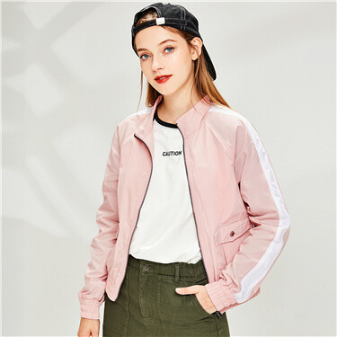 Contrast stand collar raglan sleeves jacket