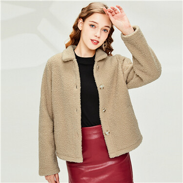 Polyester berber turn-down collar jacket