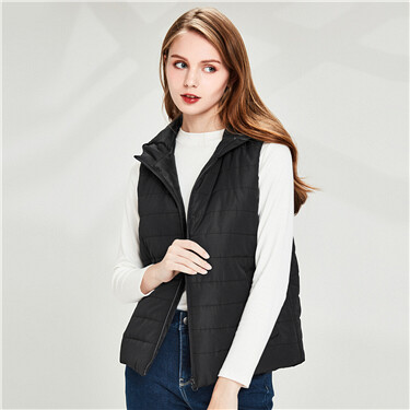 Plain quilted hooded vest