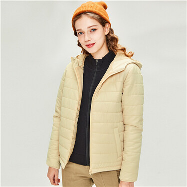 Plain quilted hooded jacket