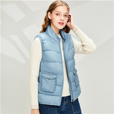Stand collar lightweight down vest