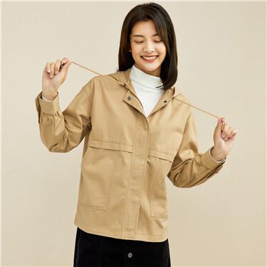 Dropped-shoulder loose drawstring hooded jacket