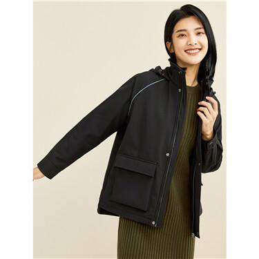 Polar fleece raglan sleeve hooded jacket