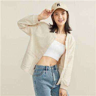Stand collar dropped-shoulder jacket