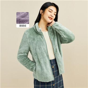 Stand collar coral fleece jacket