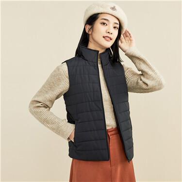 纯色立领棉衣背心外套