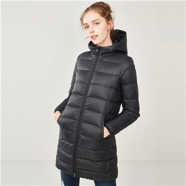 Hooded lightweight long down jacket