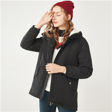 Thick hooded fleeced mid-long down jackets