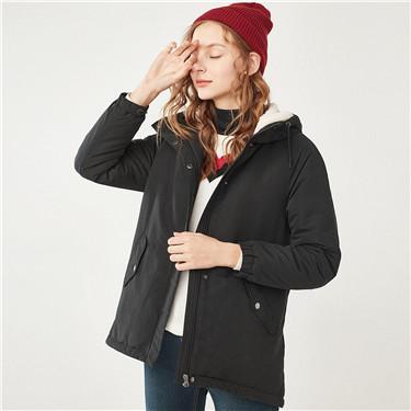 厚实加绒连帽中长款棉衣