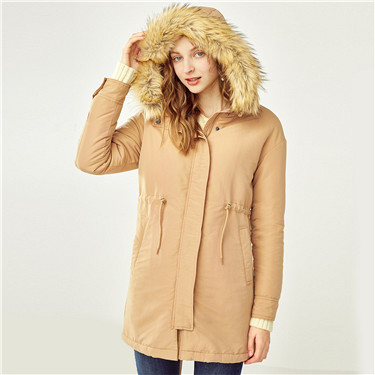 Detachable faux fur collar hooded banded-waist overcoat