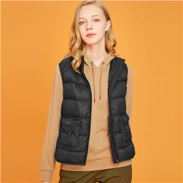Solid stand collar lightweight down vest