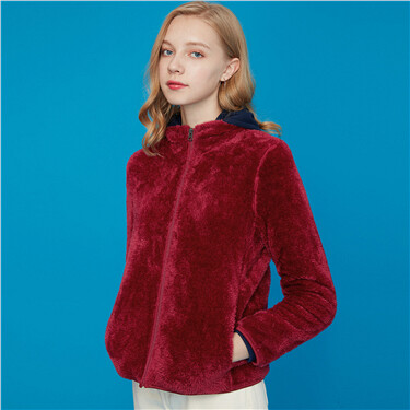 Thick coral velvet stand collar coat