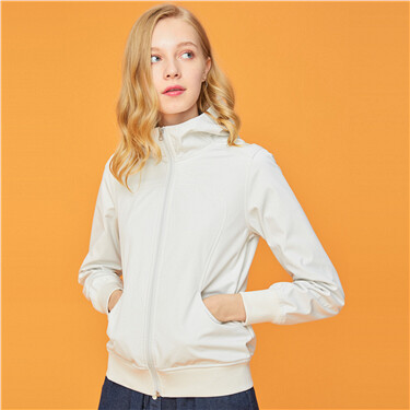 Solid stand collar hooded jacket