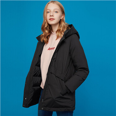 Machine washable hooded down jacket