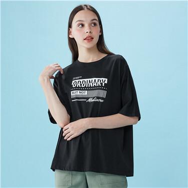 女裝寬鬆圓領印花T恤