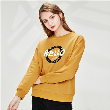 Printed letter fleece-lined sweatshirt