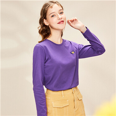 Embroidery cotton o-neck long-sleeve tee