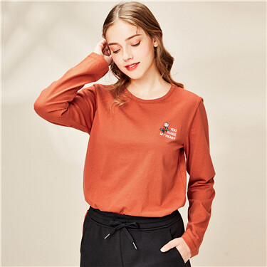 Embroidered cotton crewneck t-shirt