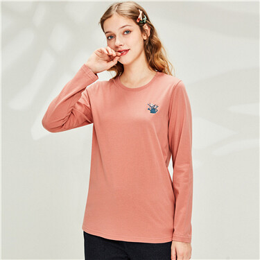 Embroidered cotton crewneck t-shirt