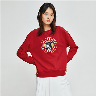 Printed fleece-lined loose sweatshirt