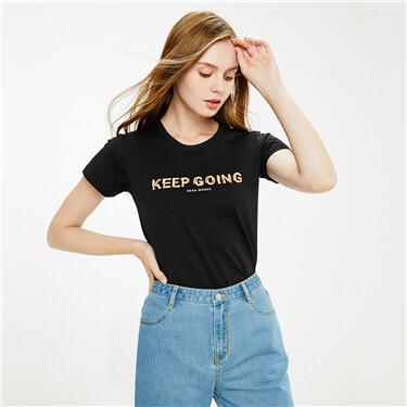 纯棉字母印花圆领短袖T恤