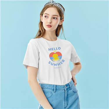 Printed crewneck short-sleeve tee