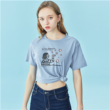 纯棉趣味小人主题印花圆领短袖T恤