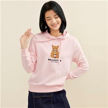 Printed drawstring hoodie