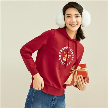 Christmas printing drawstring hoodie