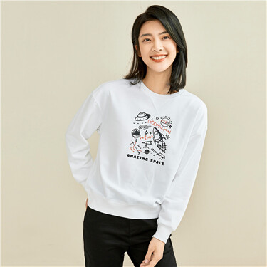 Printed dropped-shoulder sweatshirt
