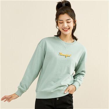Letter printing loose crewneck sweatshirt