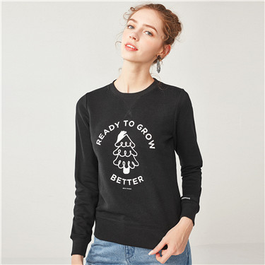 Printed letter fleeced crewneck pullover