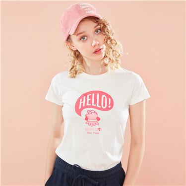 字母图案印花圆领短袖T恤