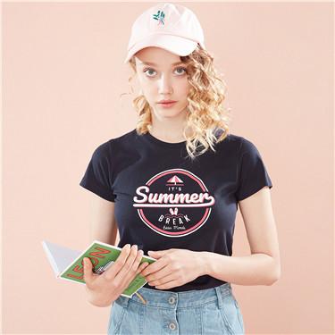 女裝SUN AND SEA系列印花短袖T恤