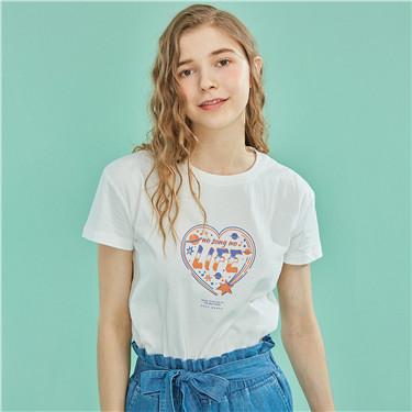 Music主題印花純棉圓領短袖T恤
