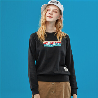 Retro graphic raglan sleeves sweatshirt