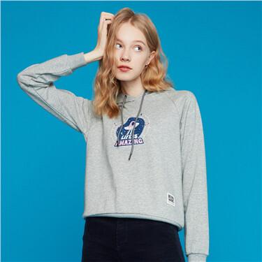 Printed letter raglan sleeves hoodie