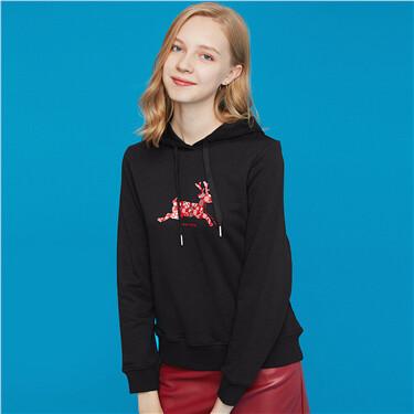 Printed fleece-lined hoodie