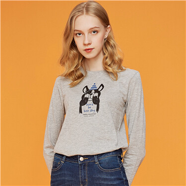 Animal graphic o-neck long-sleeve tee