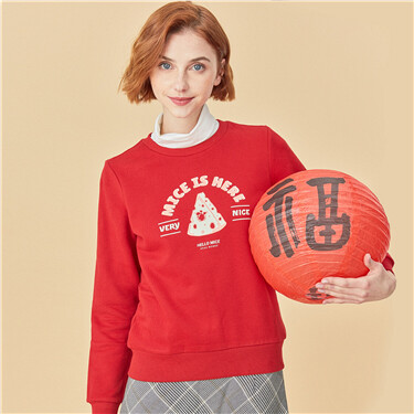 Printed long sleeves crewneck sweatshirt