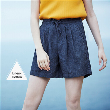 Elastic waistband linen-cotton shorts