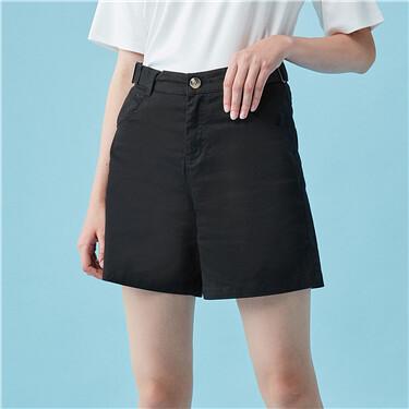 棉弹纽扣装饰休闲短裤