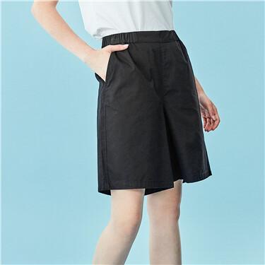 Half elastic waistband solid shorts