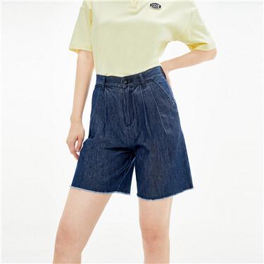 纯棉毛边裤脚中腰薄牛仔短裤