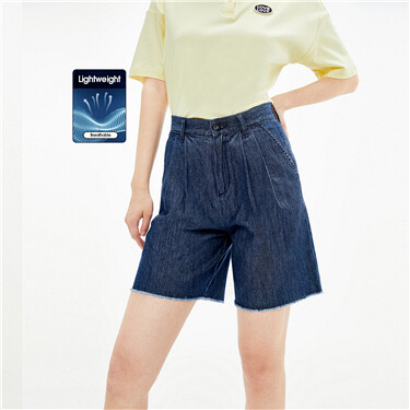 Rough edge mid-rise denim shorts